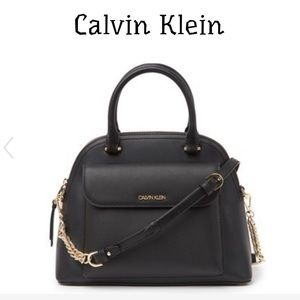 NWT Calvin Klein Chained Daytona Leather Satchel